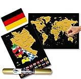 Global Walkabout DEUTSCH Europakarte zum Rubbeln - Kratzerkarte mit Flaggenhintergrund - Deluxe A3 WeltKratzerkarte Poster Länder und Fakten mit A3 Deutschland Kratzerkarte - Reisegeschenk (Black)