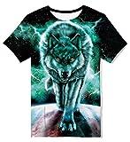 Kids4ever 3D T-Shirt Jungen Mädchen Personalisiert Galaxis Wolf Muster T Shirts Sommer Lässige Kurzarm Kinder Brüder Tee Shirt Tops,C-galaxy Wolf,10-12 Jahre (Tag M)
