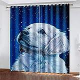 YUNSW 3D-Digitaldruckvorhänge, Hundemuster, Polyester-Verdunkelungs- Und Geräuschreduzierungsvorhänge, Geeignet Für Wohn- Und Schlafzimmer, Mit Perforationen (Total Width) 280x(Height) 160cm