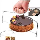 AVASAGS Tortenbodenschneider mit 2 Schneiddrähten Edelstahl Cake Cutter Kuchen- oder Biskuitböden Kuchenschneider Tortenschneider Tortenbodenteiler mit Gezahntem Schneidedraht