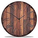 GRAVURZEILE Wanduhr aus Holz Vintage Dielen - Geräuscharm kein Ticken - 30 cm Ø - Design Wanduhren für Wohnzimmer Schlafzimmer & Kü