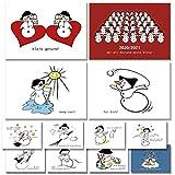 Postkarten Set 12 witzige Schneemann Karten lustige Sprüche 2 Corona Karten 2021 Grußkarten witzige Sprüche für jede Gelegenheit (gesund bleiben, Gutschein, Liebe, Motivation, Weihnachten, Kinder)