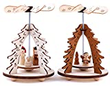Brubaker 2er Set Weihnachtspyramide Tannenbaum - 2 Motive: Engel/Christi Geburt mit Maria, Josef und Jesuskind - Holz Tischpyramiden je 11,5 cm - handbemalte Figuren