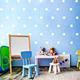Wand Abziehbild Punkt (200 Abziehbilder) Vornehm Punkt Einfach Schälen und Stick - Abnehmbare Metallisch Vinyl Polka Punkt Dekor, Runde Kreis Wandtattoo Aufkleber für Festliche Baby Zimmer (Weiß)