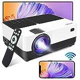 Beamer WiFi Unterstützt 1080P 6500Lux, Gobran WLAN Projektor kabellos Bildschirm Teilen, Heimkino Projektor mit 60000 Stunden LED, Support HDMI/USB/TV Stick/ Xbox/Laptop/iOS/Android Smartphone