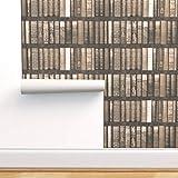 braun, sepia, Bücher, Bibliothek, Regale, Trompe l'œil, bibliophile Spezialangefertigte Selbstklebende Tapete 61 cm x 400 cm von Spoonflow