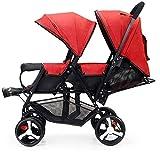 BESTPRVA Kinderwagen Neugeborenes Wagen Infant Doppel Infant Trolley, Zwillingskinderwagen Leichtklappdoppelzweisitzer-Kinderwagen-Off-Road-Version, explosionssichere Räder