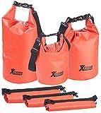Xcase Wasserdichter Seebeutel: 3er-Set wasserdichte Packsäcke aus LKW-Plane, 5/10/20 Liter, rot (Drybag)