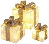 Bambelaa! 3er Led Deko Geschenke Leucht Boxen Timer Weihnachts Dekoration Weihnachtsdeko Beleuchtet Deko Weihnachten (Gold)