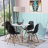 H.J WeDoo Esszimmergruppe Moderner Matt Lackierter Rund Esstisch mit 4 Stühlen Geeignet für Esszimmer Küche Wohnzimmer, Weiß Tisch & Schwarz Essstü