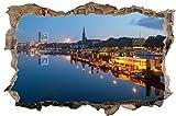 Stadt Bremen Skyline Abends Wandtattoo Wandsticker Wandaufkleber D0500 Größe 40 cm x 60