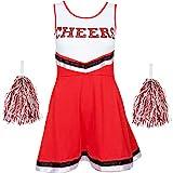 Redstar Fancy Dress - Damen Cheerleader-Kostüm - Uniform mit Pompons - Halloween, American High School - 6 Größen 34-44 - Rot - S