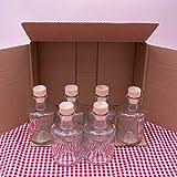6 kleine Glasflaschen mit Korken – Mini Glasflaschen 200 ml verwendbar als Chagallflaschen, Schnapsflaschen klein, Likörflaschen oder kleine Flaschen zum Befüllen mit Spirituosen Aller Art