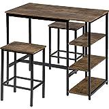 ENticerowts Moderner Design großer Raum Bar Tisch Home Restaurant Dekoration Möbel mit Ablage und 2 Hockern b