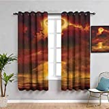 Nileco Undurchsichtiger Vorhangvorhang mit Ösen - Sonnenuntergang Himmel Blitz Ozean - 160x160 cm - 2 Stück Verdunkelungsvorhänge, Thermovorhang für Kinderzimmer und Wohnzimmer, Vorhänge