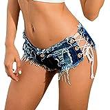 Deloito Damen Sexy Bandage Taste Niedrige Taille Shorts Cowgirl Denim Kurze Hose Abgeschnitten Mini Jeans Hot Pants (Blau,Small)