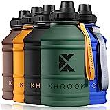 Khroom® Edelstahl Trinkflasche Sport 2,2 L - Kohlensäure geeignet & bruchfest - BPA freie Edelstahlflasche für Fitness & Freizeit   2 L XXL Water Jug   Wasserflasche   Sportflasche (Blau)