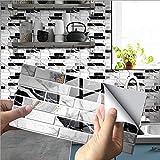 Mogokoyo 12 Stück Selbstklebende Tapete Steinoptik 3D Wandpaneele Küchenrückwand für Küche Badezimmer Toilette 20*10cm (Stil 1- 12PCS)