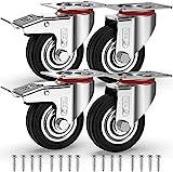 GBL - 4 Rollen für Möbel + Schrauben 75mm 200KG Transportrollen Set | Lenkrollen mit bremse | Schwerlastrollen rollen für Palettenmöbel | Möbelrollen