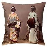 xiancheng Japanische Mädchen Zeigen Obi Kissenbezug 18x18 in weichen bequemen Couch Kissenbezug quadratischen Kissenbezug mit Reißverschluss zweiseitig
