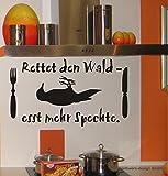 Wandtattoo, Spruch: 'Rettet den Wald - Esst mehr Spechte', Humor, Specht, essen, Größe ca. 450 mm x 260 mm, verschiedene Farben zur Auswahl (M070 Schwarz)