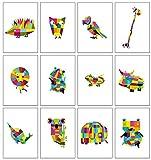 12 farbenfrohe Blankokarten/ Grußkarten mit Tiermotiven für Geburtstage oder allgemeine Anlässe