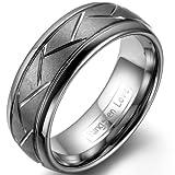 JewelryWe Schmuck 8mm Herren-Ring Damen-Ring Wolframcarbid Ring mit Zickzack Rillen für Damen Herren Hochzeitsband Größe 62