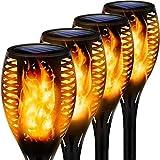 MFFACAI Solar Gartenfackeln 4 Stück LED Fackelleuchten Mit Tanzender Flamme IP65 wasserdichte Auto EIN/Aus Solarlampe Für Außen