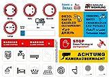 Aufkleber-Set - 20 Aufkleber für Wohnmobil/Wohnwagen/Camping - Alarmanlage, Größe, Diesel, Hotelklassifizierung, Reifendruck u. v. m. - hochwertige Hinweisschilder