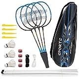 Fostoy Badmintonschläger, Badmintonschläger Set mit 4 Badmintonschlägern und 3 Federbällen, Tragetasche, Kohlefaser Komplettes Badminton Set für Erwachsene, Anfänger