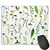 Benutzerdefinierte Office-Mauspad,Aquarell Zeichnung Kräuter und Blumen, Anti-Rutsch-Gummibasis Gaming Mouse Pad Mat Desk Decor 9.5 'x 7.9'