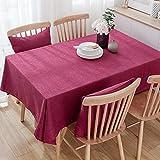 Einfache hochwertige Dicke rechteckige dekorative Baumwolltischdecke Färben Hotel Hochzeit Restaurant Tuch 140x220cm ROT