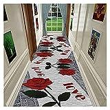 Langer Flur Hall Runner schmale Teppiche Flur Runner Küchenteppich rutschfeste waschbare Treppe extra Lange schmale Teppichläufer Moderne graue rosafarbene Mustereingang große Tü