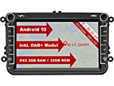 M.I.C. AV8V6-lite Android 10 Autoradio mit navi Ersatz für VW Golf t5 touran Passat RNS RCD Skoda SEAT: DAB Plus Bluetooth 5.0 WiFi 2 din 8' IPS Bildschirm 2G+32G USB Auto zubehör europak