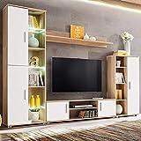 Tidyard Modernes Fernsehschrank, TV-Wohnwand mit LED-Leuchten aus Spanplatte, Sonoma Eiche und Weiß