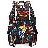 ZZGOO-LL Dragon Ball Son Goku/Vegeta IV/Torankusu Anime Cosplay Bookbag College Tasche Rucksack Schultasche mit USB-Ladeanschluss-C
