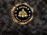 Maurer Hoch die Maurerkunst Leuchtreklame Wandbild Schild Leuchtschild Neonreklame Aufsteller Werbung Logo Emblem Zunft Zunftzeichen Blechschild