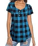 DEMO SHOW Damen Tunika Top Locker Langarm V Ausschnitt Knopfleiste Plissiert Floral Henley Shirt Bluse T Shirt (Kariert blau 01, XL)