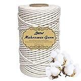 Makramee Garn, Baumwollgarn 3 mm x 200 m weiß Baumwollkordel 100% Baumwolle für kramee Wandbehang Blumenampel Pflanzen Aufhänger oder Basteln Baumwollkordel als DIY Schnur zum Stricken
