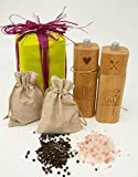 Original Salz- und Pfeffermühle inkl. Jutesäckchen mit Salz und Pfeffer im Geschenkset (Salz aus Punjab Pakistan)