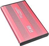 Externe Festplatte, 2 TB Festplatte, tragbar, ultradünn, USB 3.0, kompatibel mit PC, Mac, Desktop, Notebook (2TB, Red)