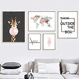 KDSMFA Weltkarte Giraffe Feder Landschaft Wandkunst Gemälde nordische Poster und Drucke Wandbilder für Wohnzimmer Home Decor; 30x40 30x60 30x80 cm ohne Rahmen