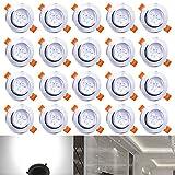Hengda® 20X 3W LED SMD Spot Einbauleuchte Strahler Decken Lampe 6000-6500k Weiß AC 230V +Treib