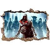 Nensuo 3D Assassin's Creed Wandtattoo Wasserdicht Anti-Fade Wanddekoration Wandaufkleber Wandsticker Wandbilder für Außenbereich, Garten, Badezimmer-60 * 90cm-C_60*90CM