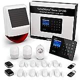 Safe2Home® Funk Alarmanlage Komplett Set SP310 Profi - Solar Sirene - Rolling Code - wechselnde Frequenz deutsch GSM Alarmsystem - SMS Alarmierung - Alarmanlagen fürs Haus Bü