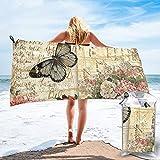 mengmeng Vintage Schmetterlinge schnell trocknendes Handtuch für Sport, Fitnessstudio, Reisen, Yoga, Camping, Schwimmen, super saugfähig, kompakt, leicht, Strandtuch
