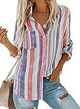 FIYOTE Bluse Damen Hemd Oberteile V-Ausschnitt Lose Casual Chiffon Langarm T-Shirt Top Tunika Elegant Langarmshirt Weiß XL