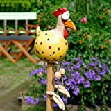 Gartendekoration aus Keramik, in Form eines Huhns, dekorativ, lustig, Dekoration für den Garten, Hähnchenhof, Gartenfigur