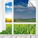 Fenster Spiegelfolie Selbstklebend Sonnenschutzfolie Spionfolie Dachfenster 99% UV-Schutz Fensterfolie, 44x400cm Silber