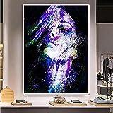 Licnay Diamond Painting Buntes Weibliches Gesicht Strassstickerei DIY 5D Kunsthandwerk Full Kit Großformat Geschenk Mosaik Dekoration Kreuzstich Volldiamant,Quadratbohrer,50x70